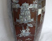 Stunning Very Large Oriental Vase with Mother of Pearl Inlaid Decorationa
