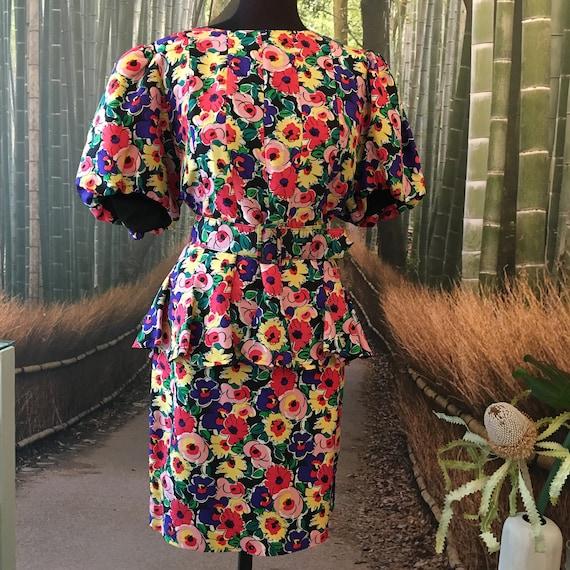 Colourful 1980s silk Nipon Boutique three piece en