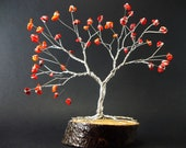 Coral Wire Tree Sculpture, Gemstone Tree, Feng Shui, Healing Crystals, Gift for Her, Tree of Life, Wire Bonsai, Lucky Tree, Pisces