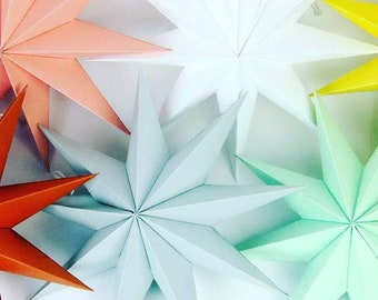 Scandi Design.Grey 60cm Hanging Paper Star 5-point star