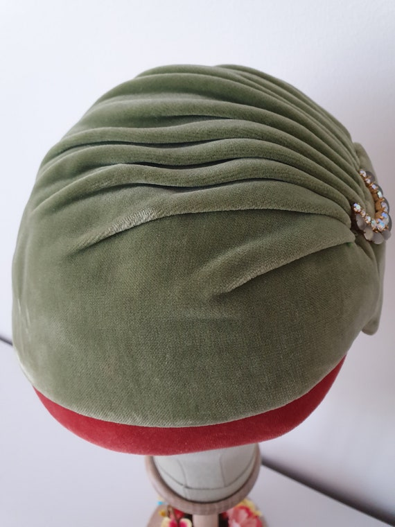 Vintage ca 1940s 1950s deadstock green and red ve… - image 5