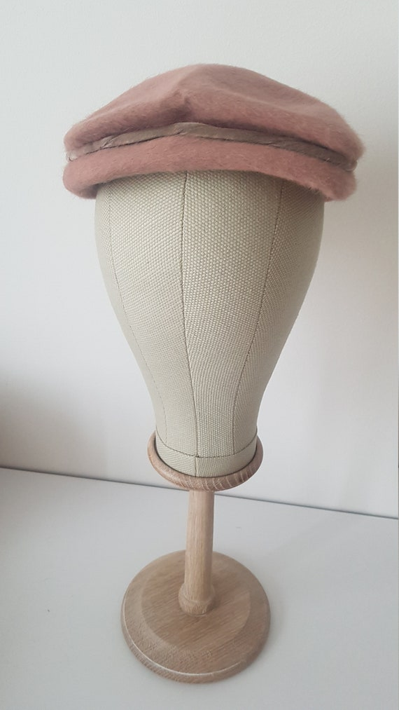 Vintage ca 1940s pink fuzzy hat deadstock - image 3