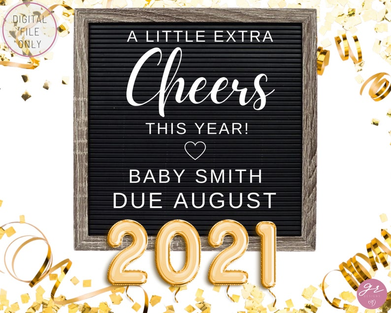 Editable New Years Eve Pregnancy Announcement 2021 New Years Social Media Pregnancy Announcement New Year Digital Pregnancy Announcement