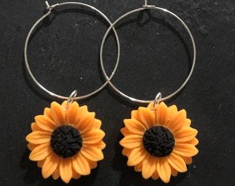 Ethnic Flower Floral Nature Sunflower Earrings with Free Gift Bag Gift for Women,Gypsy soul Bohemian Flower Dangle Hippie Hoops Earrings