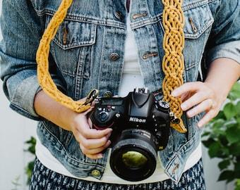 MACRAME CAMERA STRAP / honey yellow mustard / boho / photography strap for creatives / gift for photographer