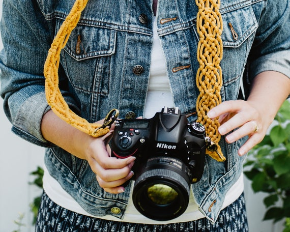 MACRAME CAMERA STRAP  honey yellow mustard  boho  photography strap for creatives  gift for photographer