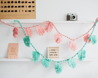 SET OF 2 mint pink macrame feather garlands, wall hangings, cheerful decoration for kids room, tapestry, gift for child, nursery room