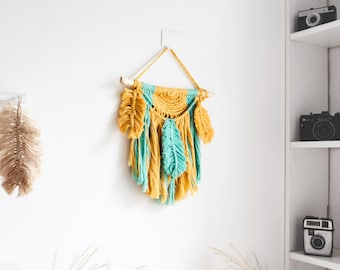 handmade macrame wall hanging for boho home, bohemian style decoration, tapestry wall decor, garden decorations, gift for home, mustard