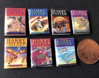 Miniature Harry Potter Wizard books A x 7.  1:12 for dolls house. UK version