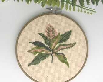 "Cross stitch pattern PDF   SPRING LEAVES   Botanical   Modern Embroidery beginner   6"" Hoop Wall Art"