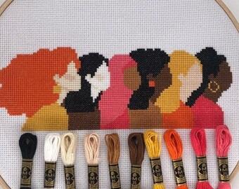 Cross stitch pattern PDF   #choosetochallenge   International Womens Day   Modern Embroidery beginner