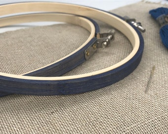 Navy Hand Stained Bamboo Embroidery Hoop. Hand cross stitch Frame. Display Hoop.