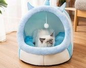Blue or Pink Cat Bed - Super Cute Very Comfy Cat Cave Bed Plush