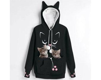 Cat Hoodie Fleece Hooded Zip Sweatshirt