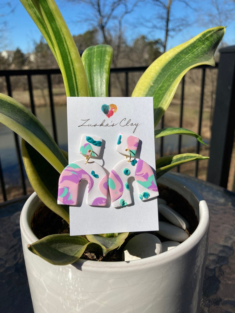 Little Zuska/'s 80s Roller Rink  Handcrafted Arch Clay Statement EarringsPink and Mint on White Drop EarringsSummer Retro Earrings