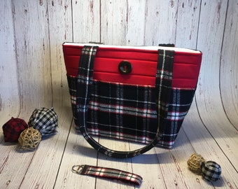 Red and Green Tartan  Plaid Holly and Berries Messenger Bag