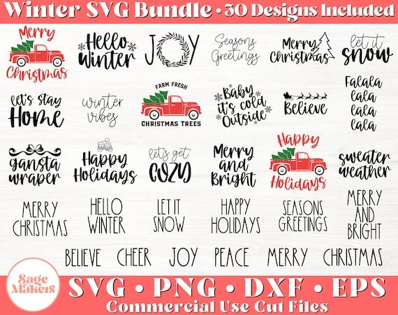 Christmas SVG Bundle - Winter Svg Files For Cricut - Farmhouse Christmas SVG - Digital Download