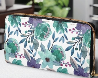 Zipper Wallet, Faux Leather Wallet,  Personalized Gift for Mom from Daughter, Green Floral Purse