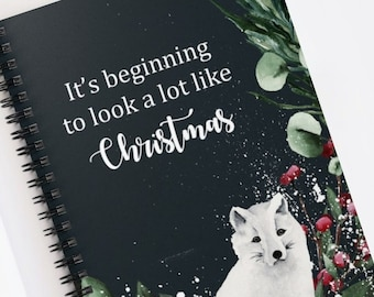 Christmas Journal, Lined Spiral Notebook, Christmas Gift for Girls and Women, Snow Fox Graphic