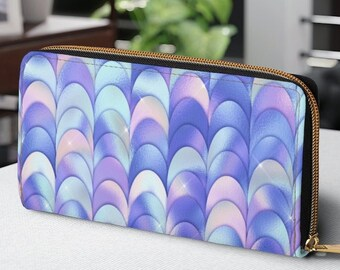Zipper Wallet, Faux Leather Wallet,  Mermaid Scales Purse, Personalized Gift for Daughter from Mom