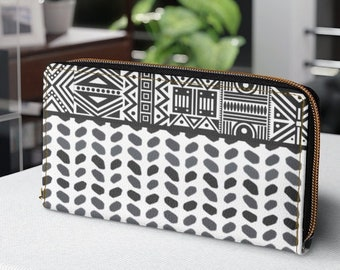 Zipper Wallet, Faux Leather Wallet,  Personalized Gift for Aunt, Tribal Geometric