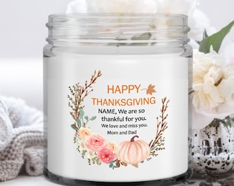 Vanilla Soy Candle | Personalized Thanksgiving Gift | Autumn Decoration Indoor | Gift for Daughter from Parents