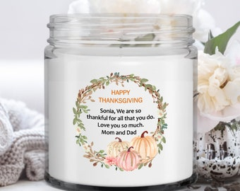 Vanilla Soy Candle | Personalized Thanksgiving Gift for Daughter | Watercolor Pumpkin Wreath