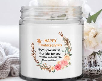 Vanilla Soy Candle | Personalized Thanksgiving Gift | Gift for Daughter from Mom and Dad | Autumn Decoration