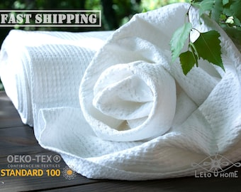 European 100% natural Waffle fabric by the yard Medium weight cotton and linen toweling fabric for sewing kitchen and bathroom textile