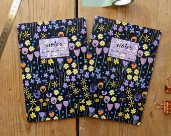 Spring Floral A5 Notebook with lined paper, journal back to school, notes, notepad, flower power