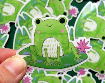 Frog on a Lily Pad Vinyl sticker / waterproof frog sticker, toad, lilypad cottage core cute frog illustration