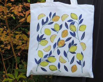 Lemon print tote bag / canvas cotton shopping bag For her for him for mum for dad. Mother's Day gift