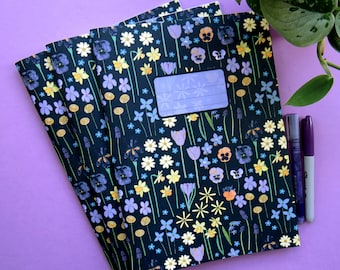 Spring Floral A4 Notebook on recycled paper, with four different types of paper, lined, plain, wide line and squared. journal back to school