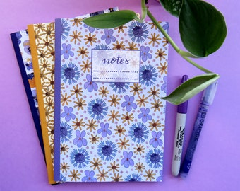 A5 and A6 pack of three floral pattern notebooks / ragwort pansy mix flower pattern / journal / notepad / pocket sized gift