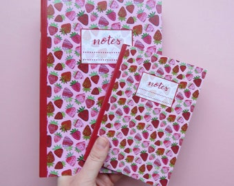 Strawberry pattern notebook in A5 and A6 / strawberry print gift for her / pocket notepad / journal / fruit repeat pattern / girly pink pad