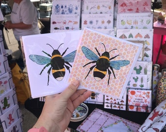 Bee greetings card / blank greetings card / Manchester bee / honeycomb bee collage / 2 pack bee cards