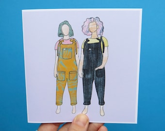 Lucy and Yak Girls Greetings card / birthday card / blank greeting card / dungarees girls