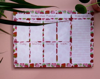 Weekly meal pattern, strawberry pattern meal planner. Dinner plan notepad. Memo pad. Shopping list. Food plan. Mother's Day gift