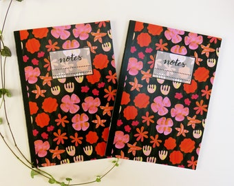 Orange Flower and Green leaves pattern Notebook, autumnal floral notepad, autumn fall themed journal, lined paper notebook,