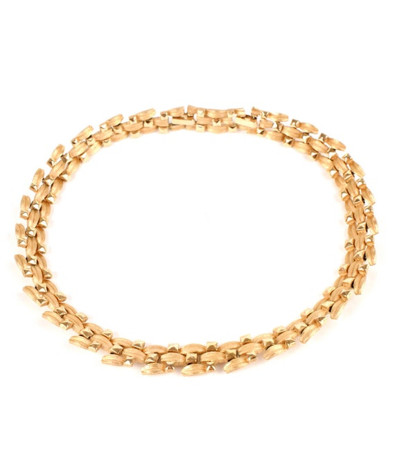 Crown Trifari Modernist Golden Vintage Necklace