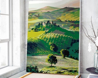 - Van-Go Paint-By-Number Kit 50 Italy Collection Tuscany Landscape