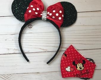 Black Dots Minnie Set,Minnie Mouse Birthday,Minnie /& Mask Dots,Minnie Classic,Retro Rockabilly,Halloween Ears Headband,Rock The Dot/'s