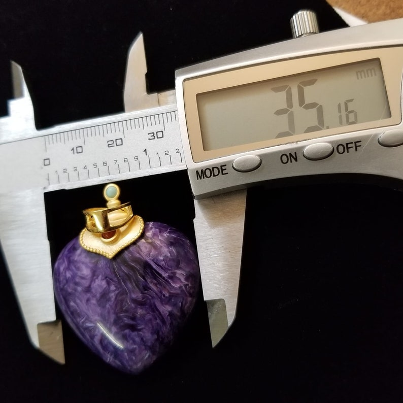 Rare Find! Charoite Heart Shaped Pendant 14k Coated Over 925 Silver
