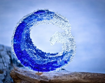 Beautiful Ocean Wave Fused Glass Cobalt blue and turquoise
