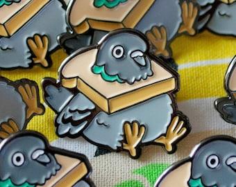 Fat Bread Pigeon Enamel Pin