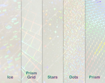 """8.25""""x11"""" Holographic Self-Adhesive Transparent Film (Mixed Pack)"""