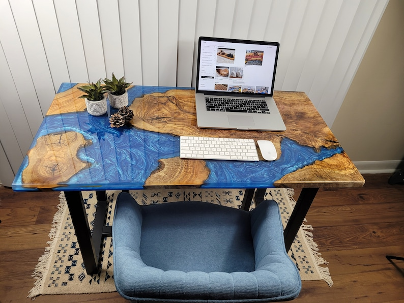 Marble Inspired Large Epoxy Computer Desk
