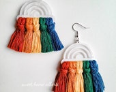 Rainbow Earrings - Macrame Rainbow Earrings