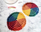 Rainbow Macrame Coasters Set of 2 - Coffee Table Decor