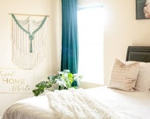 Large Macrame Wall Hanging in Cream and Jade - Bohemian Tapestry